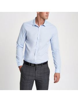 Blue Slim Fit Long Sleeve Shirt by River Island