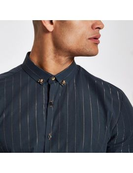 Navy Metallic Stripe Slim Fit Shirt by River Island
