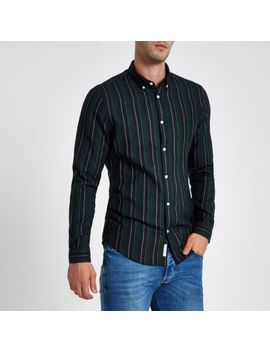 Dark Green Mixed Stripe Slim Fit Shirt by River Island