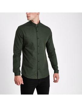Dark Green Tile Print Slim Fit Shirt by River Island