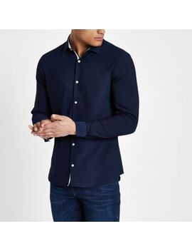 Navy Textured Skinny Fit Shirt by River Island