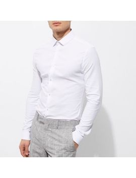White Textured Semi Cutaway Skinny Fit Shirt by River Island