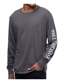 Obey New Times Property Dusty Black Long Sleeve T Shirt by Obey