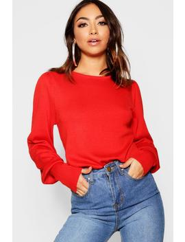Crew Neck Extreme Cuff Jumper by Boohoo