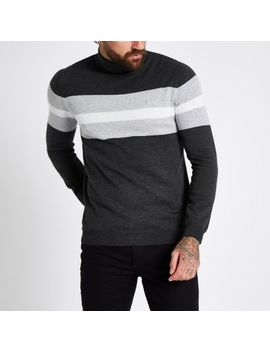 Grey Block Print Roll Neck Slim Fit Sweater by River Island