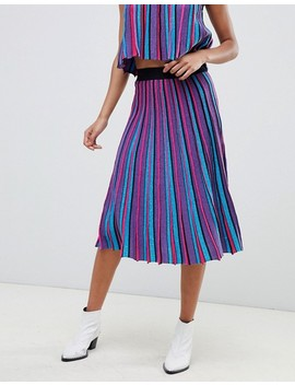 Asos Design Vertical Stripe Midi Skirt In Metallic Yarn by Asos Design