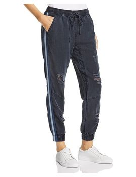 Track Stripe Distressed Jogger Pants by Vintage Havana