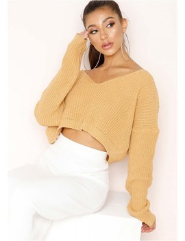 Kaye Mustard Knit Cropped Jumper by Missy Empire