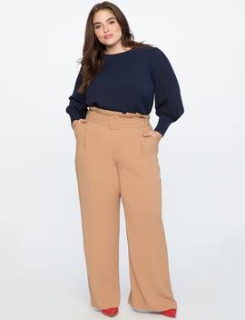 Paperbag Waist Wide Leg Pant by Eloquii