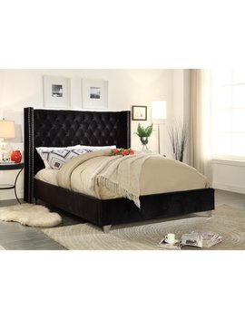 Meridian Furniture Inc Aiden Velvet Platform Bed by Meridian Furniture Inc