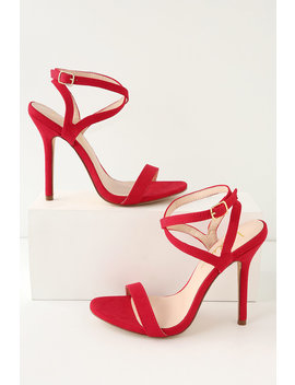 Kingston Red Suede Ankle Strap Heels by Lulus