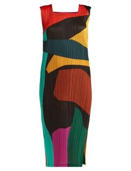 Clumpy Colour Block Pleated Midi Dress by Pleats Please Issey Miyake