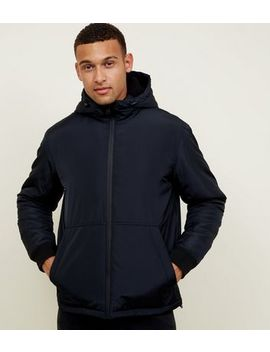 Navy Borg Hood Zip Through Jacket by New Look