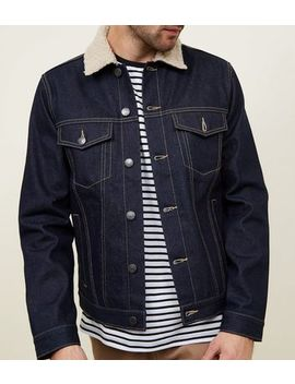 Indigo Check Lined Borg Collar Denim Jacket by New Look