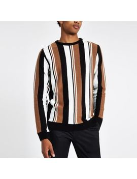 Light Brown Knit Stripe Slim Fit Jumper by River Island