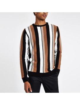 Light Brown Knit Stripe Slim Fit Jumper by River Island