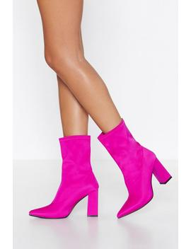 Toxic Pink Lycra Sock Boot by Nasty Gal