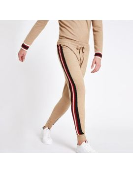 Brown Tape Knit Slim Fit Joggers by River Island