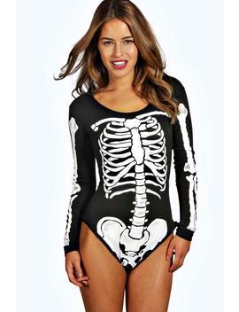 Petite Joanne Skeleton Print Halloween Bodysuit by Boohoo