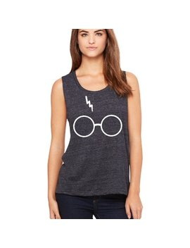 Harry Potter Glasses Lightning Bolt Scar Women's Muscle Tank Top Black Slub Small by Zexpa Apparel