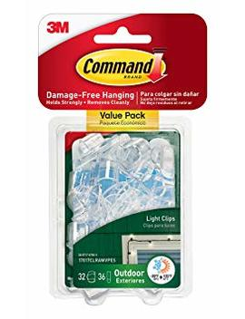 Command Outdoor Light Clips Value Pack, Clear, 32 Clips (17017 Clrawvpes) by Command