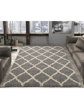 "Ottomanson Soft Cozy Trellis Design Shag Rug Contemporary Living & Bedroom Soft Shaggy Area Rug, 79"" L X 111"" W, Grey by Ottomanson"