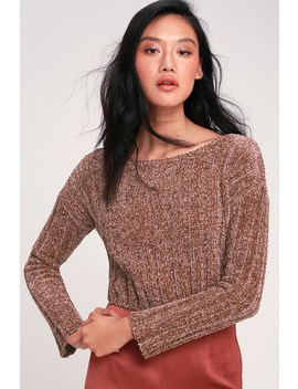 Idol Brown Chenille Cropped Sweater by Lulu's