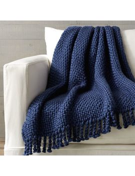 Cozy Weave Blue Throw by Crate&Barrel