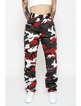 Cherry Red Camo Cargo Pants by Goodbye Bread