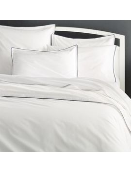 Haven King Blue Percale Duvet Cover by Crate&Barrel