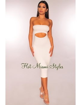 Off White Strapless Cut Out Dress by Hot Miami Style