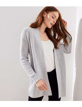 Petite Ribbed Pocket Open Cardigan by Loft