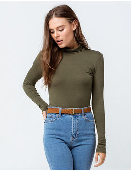 Sky And Sparrow Ribbed Turtle Neck Olive Womens Tee by Sky And Sparrow