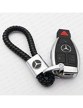 For Mercedes Benz Logo Emblem Key Chain Key Ring Metal Alloy Bv Style Black Leather Gift Decoration Accessories Amg (Black) by Us85