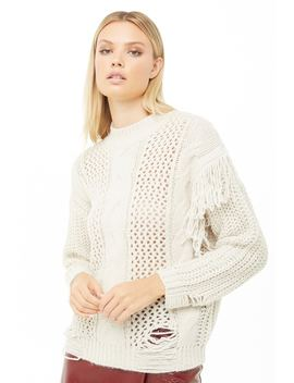 Fringe Trim Mixed Knit Sweater by Forever 21