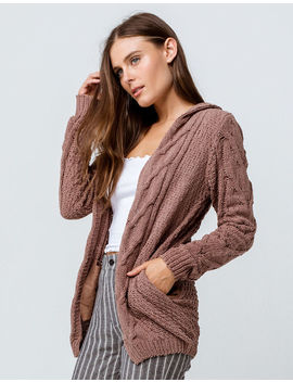 Woven Heart Cable Knit Chenille Brown Womens Hooded Cardigan by Woven Heart