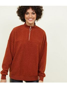 Rust Borg Ring Zip Up Funnel Neck Sweatshirt by New Look