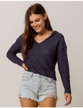 Sky And Sparrow Crop Navy Womens Hooded Sweater by Sky And Sparrow