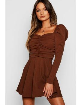Puff Sleeve Ruched Bodice Skater Dress by Boohoo