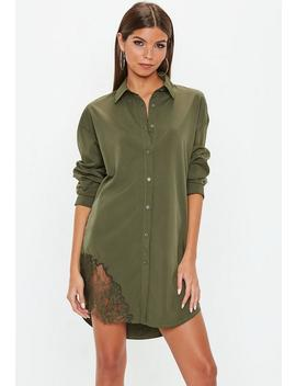 Khaki Lace Trim Shirt Dress by Missguided