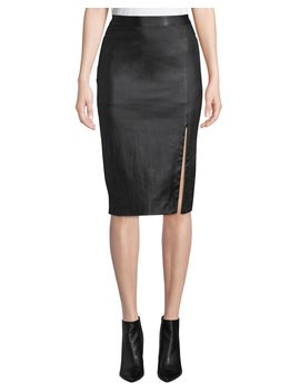 Bristol Leather Zip Front Pencil Skirt by Theory