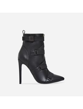 Halle Strap Detail Ankle Boot In Black Faux Leather by Ego