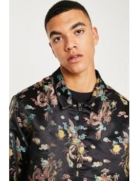 Urban Outfitters– Langärmliges Brokat Hemd Mit Reißverschluss by Urban Outfitters Shoppen