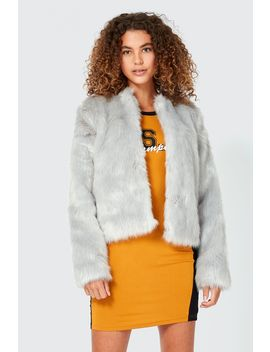 Collarless Faux Fur Coat by Select