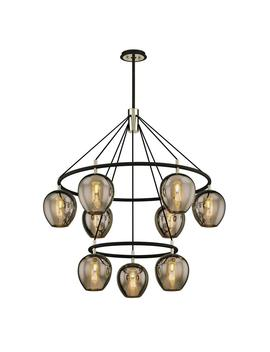 Iliad 9 Light Carbide Black 40 In. W Pendant With Plated Smoke Glass by Troy Lighting
