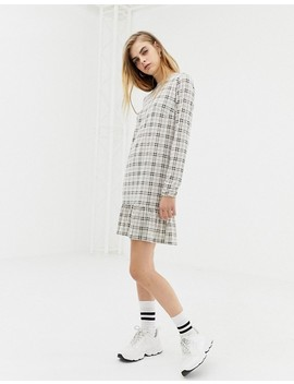 Daisy Street Shift Dress With Frill Hem In Vintage Check by Daisy Street