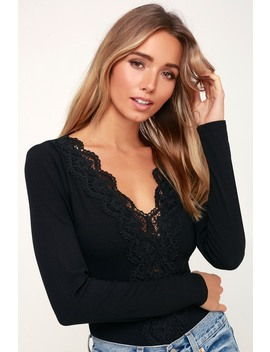 Come Back To You Black Lace Long Sleeve Bodysuit by Lulus