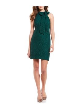 Lace Bow Mockneck Sleeveless Sheath Dress by Vince Camuto