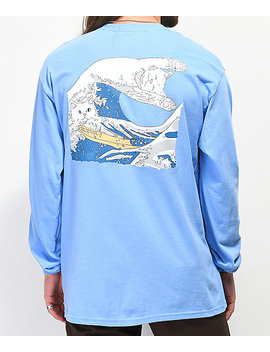 Ripndip Great Wave Of Nerm Blue Long Sleeve T Shirt by Ripndip
