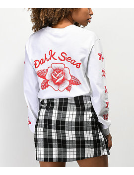 Dark Seas Rose White Long Sleeve T Shirt by Dark Seas